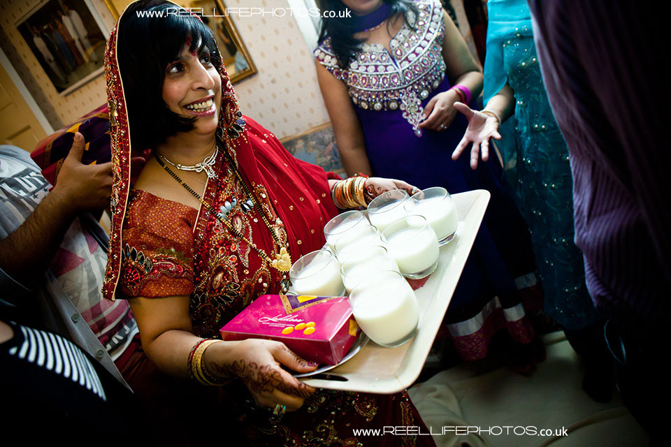 Milk always appears somehwere in Hindu and Muslim Asian wedding ceremonies.