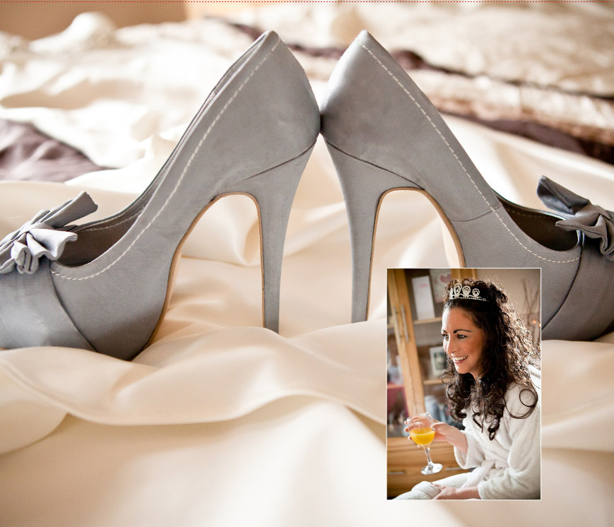 wedding shoes at start of wedding photos before the ceremony in storybook