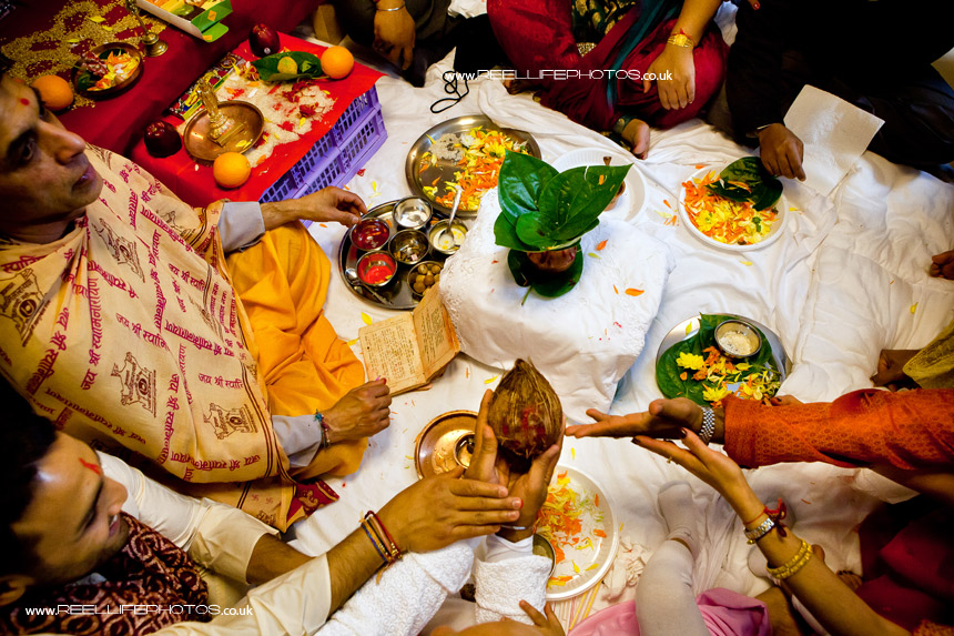 Hindu wedding Sainth prayer ceremony with the coconut