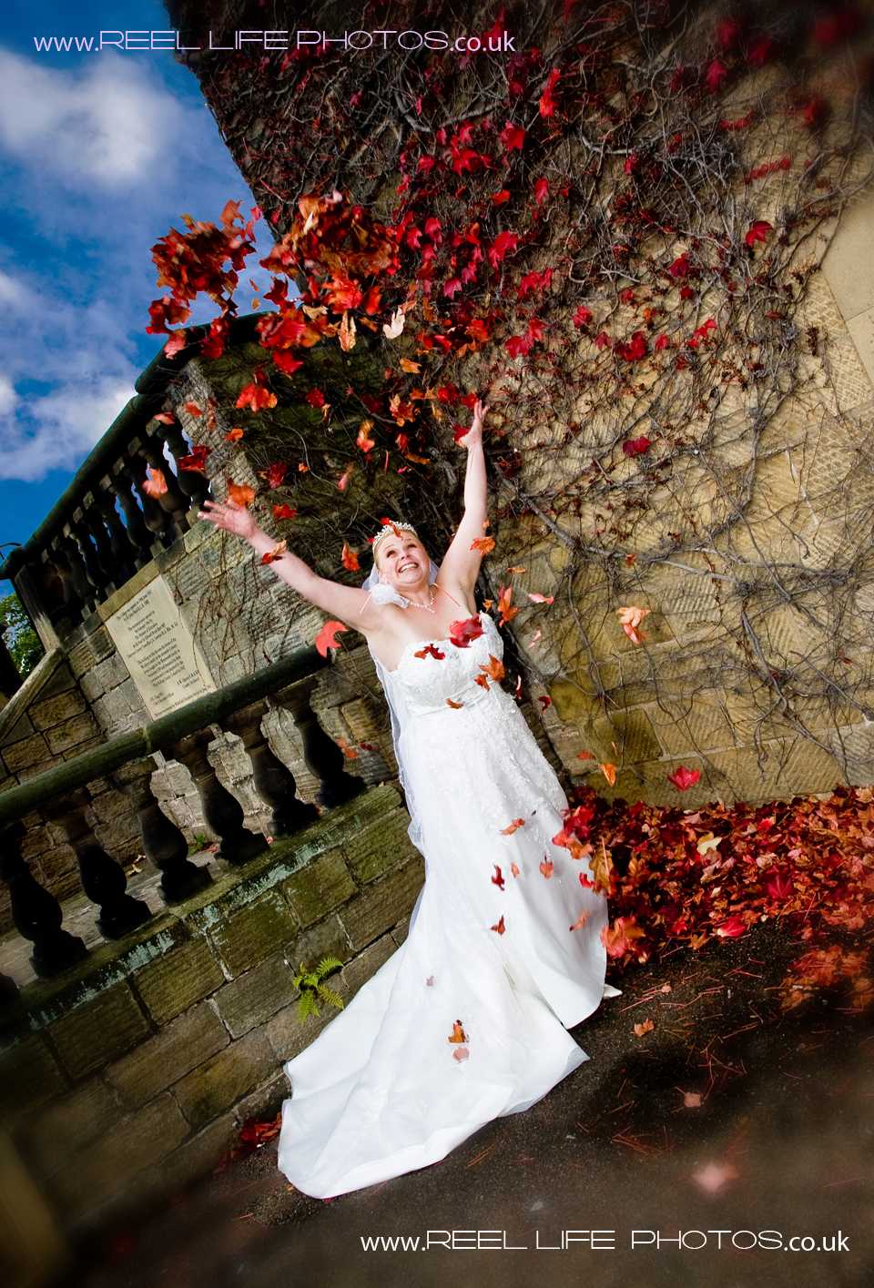 fun Autumn wedding at Woolley Hall in Wakefield