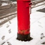 Red Post Box in Snow: Dynamic snow art pictures from Dewsbury in West Yorkshire