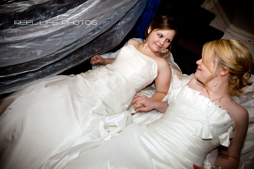 gay wedding picture of two brides