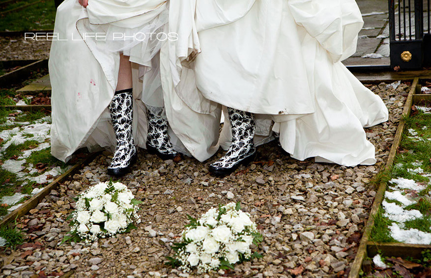 Gay brides in wellies
