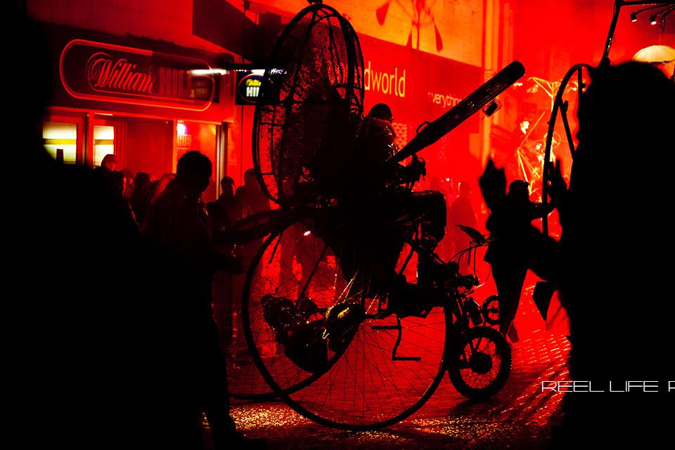 Spirit 2013 in DEWSBURY at night, steampunk flying machines