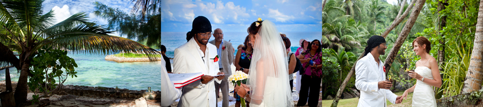 Beach wedding in the Seychelles at Cap Lazare