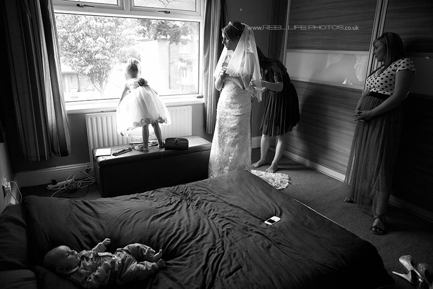 black and white natural wedding photo