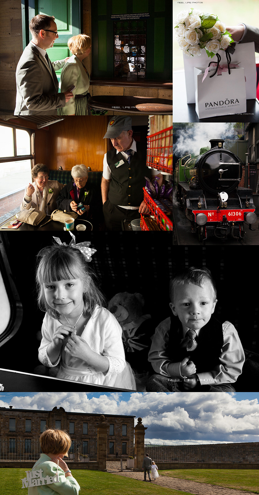 unusual wedding day with steam train trip