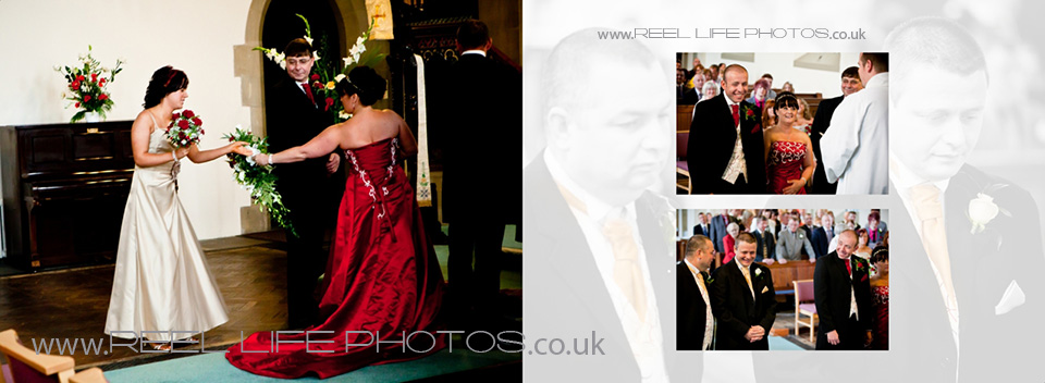 church wedding pictures by West Yorkshire wedding photographer, bride in red dress