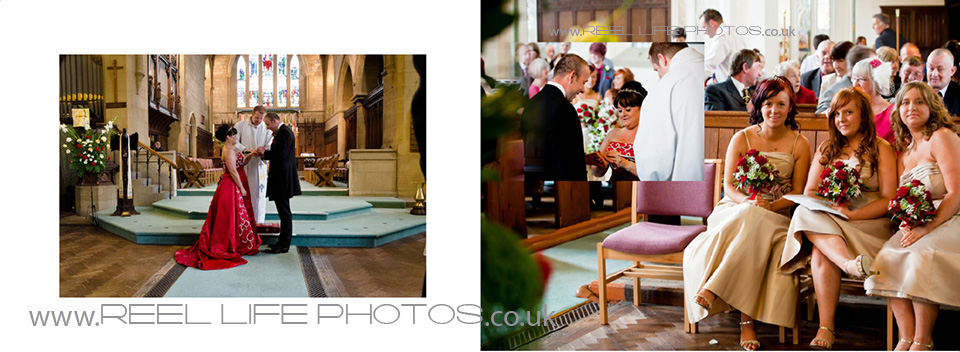 wedding ceremony photos inside St James Church in Heckmondwike