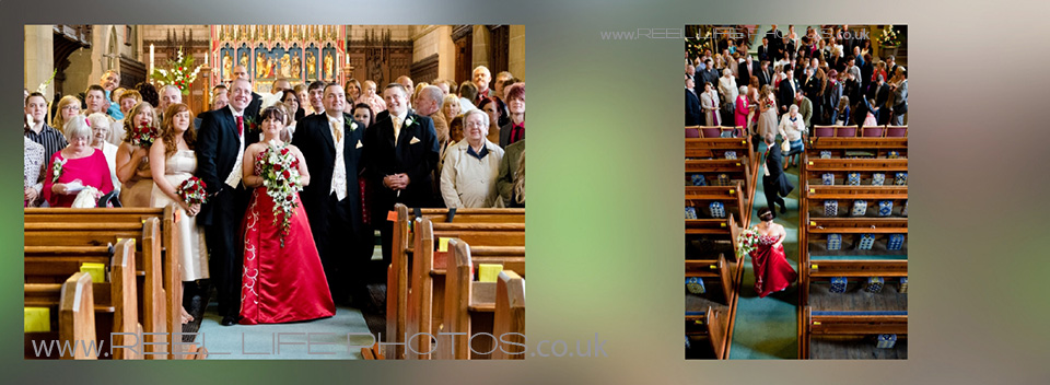 storybook wedding album design, with pictures from inside St James Church