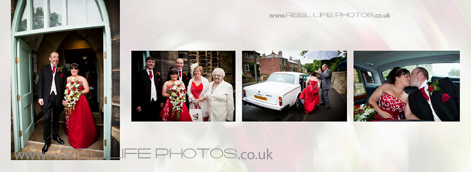 wedding photos outside St James Church by wedding photographer in West Yorkshire