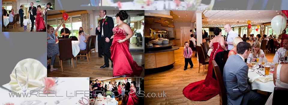 storybook wedding pictures inside Lakeside Restaurant at Ponderosa in Heckmondwike