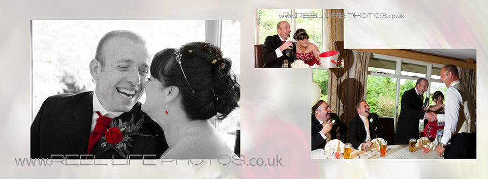 Black and white wedding photo of bride and groom by West Yorkshire wedding photographer