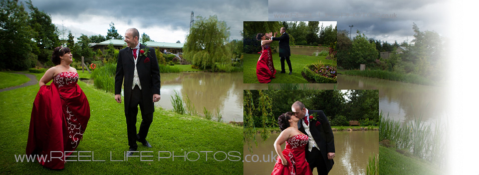wedding pictures by the lake at Ponderosa in Heckmondwike