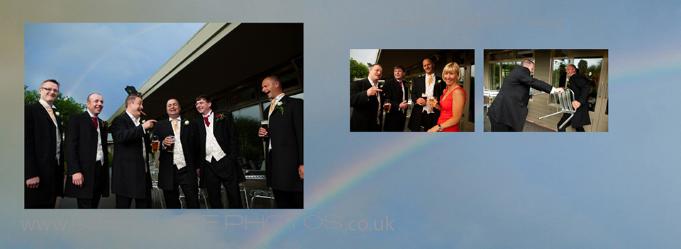 pictures of wedding with a rainbow