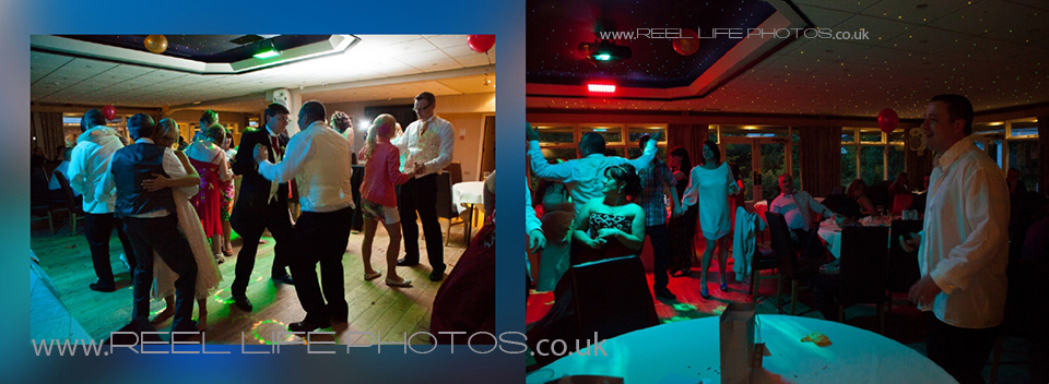 Fun wedding pictures of dancing at the evening wedding reception in Heckmondwike