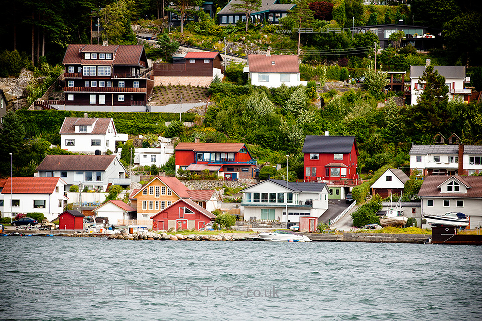 beautiful view of houses bordering the fjord at Sandnes