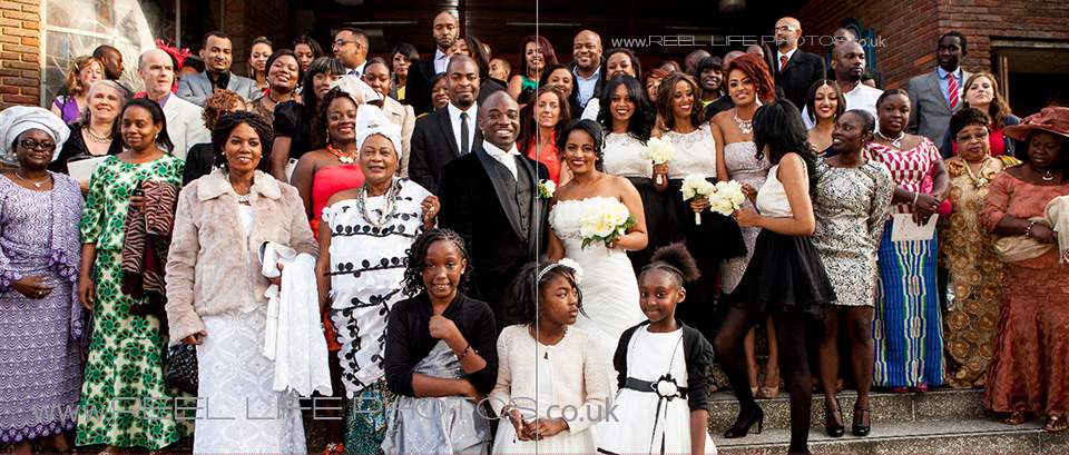 wedding photos on the steps of St Aloysius Church in London