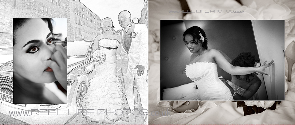 wedding storybook with black and white photos