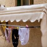 Cat on unusual perch in Greece and washing on the line.