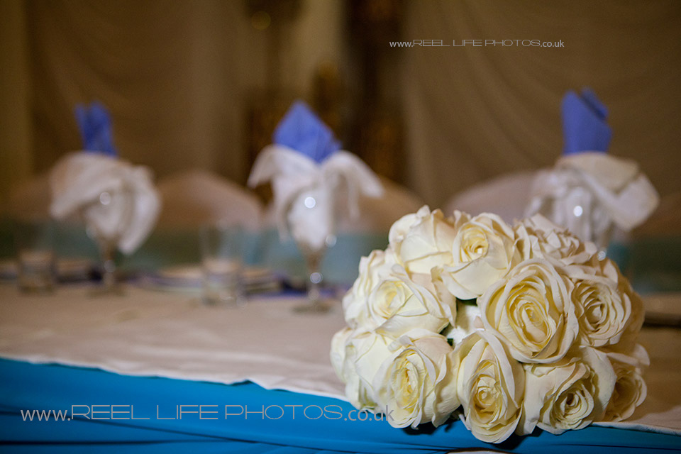 Asian wedding photography with picture of top table at Nawaab's