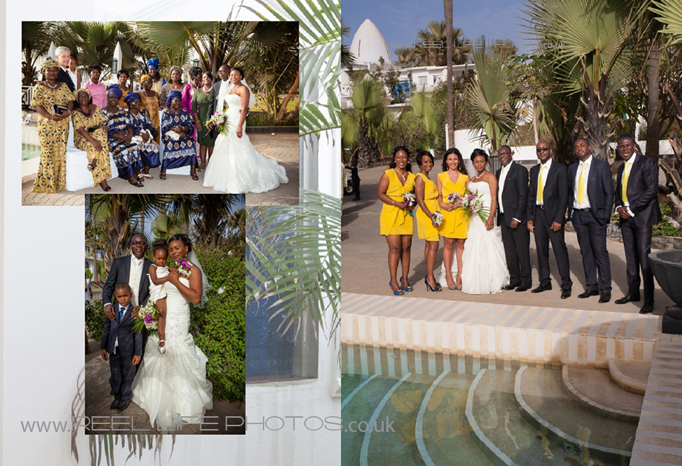 Multicultural wedding pictures in Gambian hotel by the pool