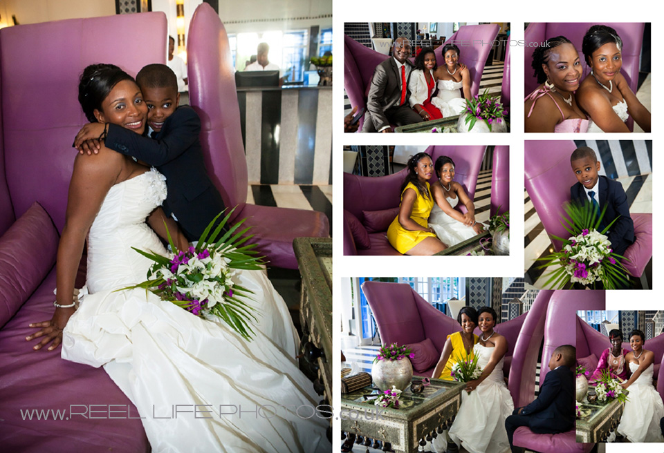 wedding photos inside Coco Ocean reception area