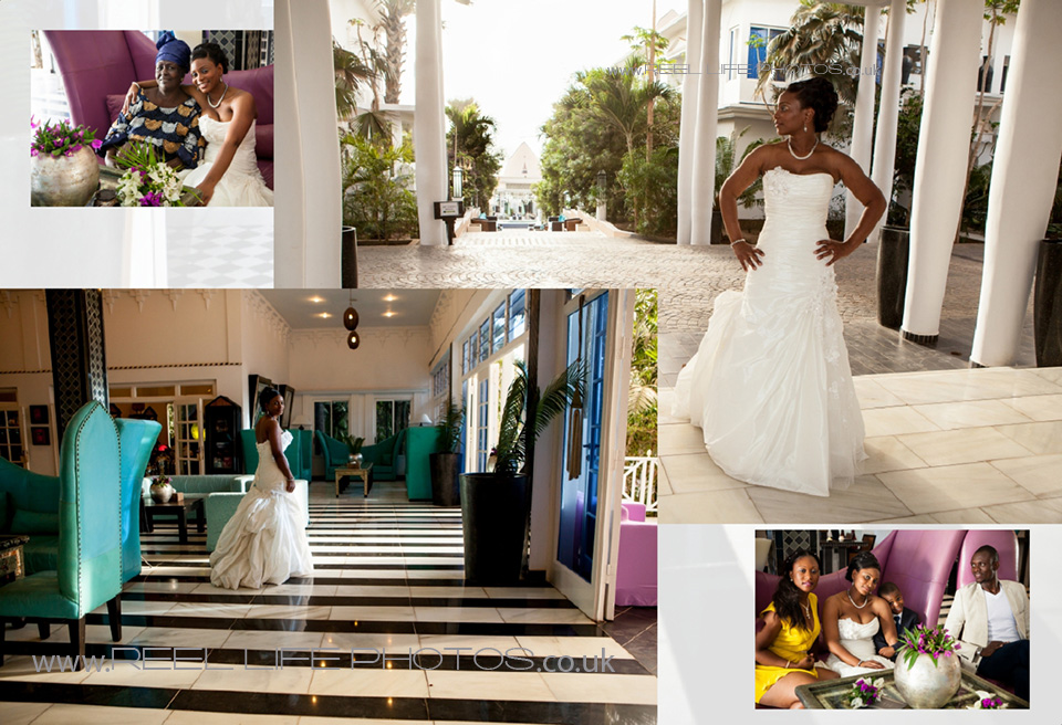 wedding photos inside Coco Ocean hotel reception in the Gambia