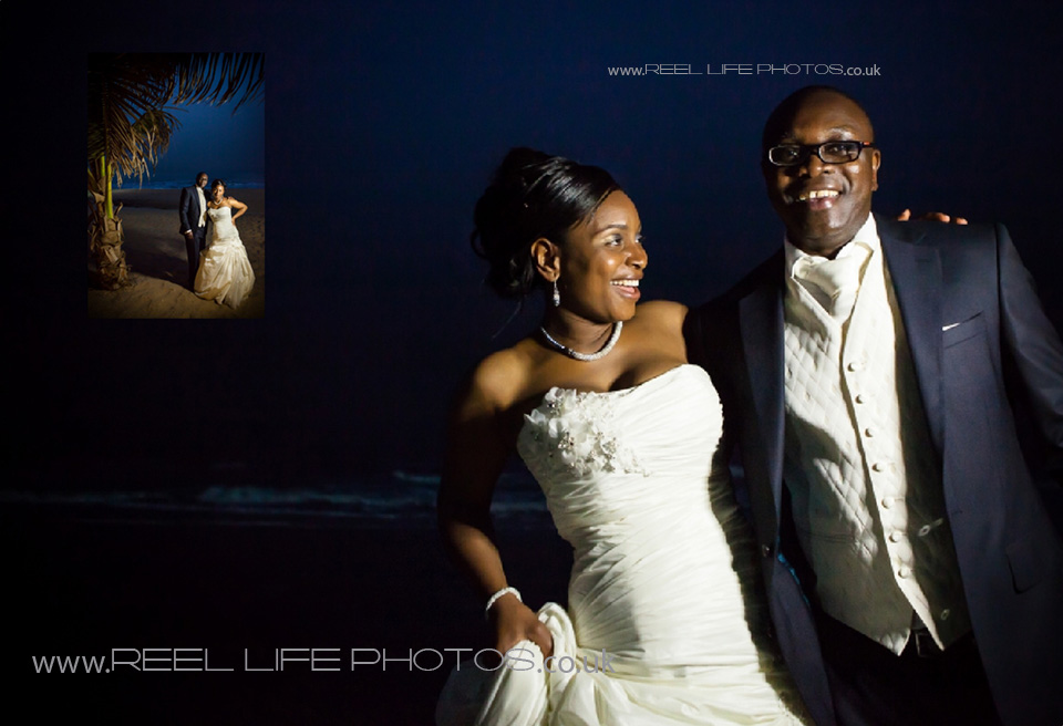 natural wedding pictures on the beach at night in the Gambia