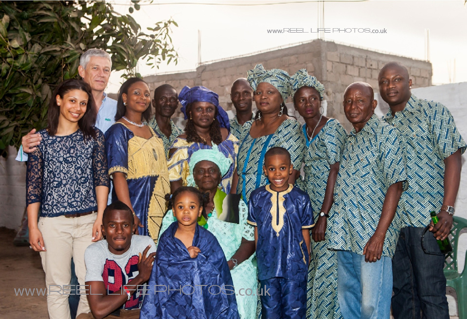 Sierra Leone family in cultural dress at a traditional wedding in the Gambia