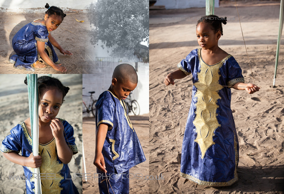 children playing in the Gambia wearing traditional wedding costumes from Sierra Leone