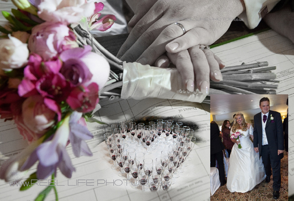 artistic black and white wedding photos with colour tints
