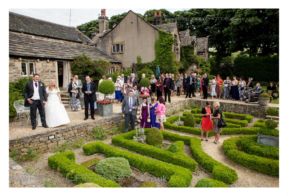 The maze and gardens at Holdsworth House during a wedding