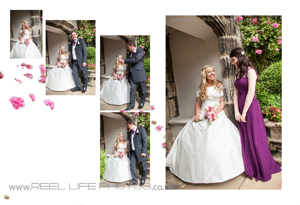 wedding pictures by the tudor arched doorway at Holdsworth House