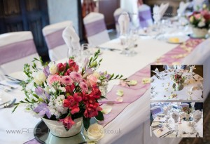 top table with flowers at Holdsworth House wedding