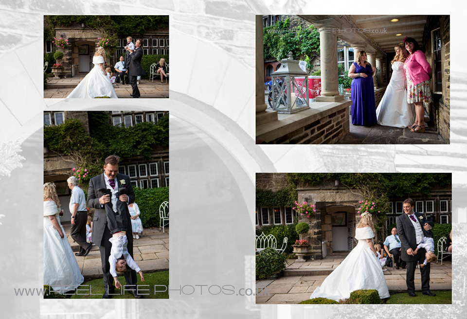 fun wedding photos in the gardens at Holdsworth House in Halifax