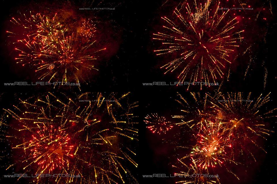 Fireworks at night of Huddersfield Festival of Light 2013