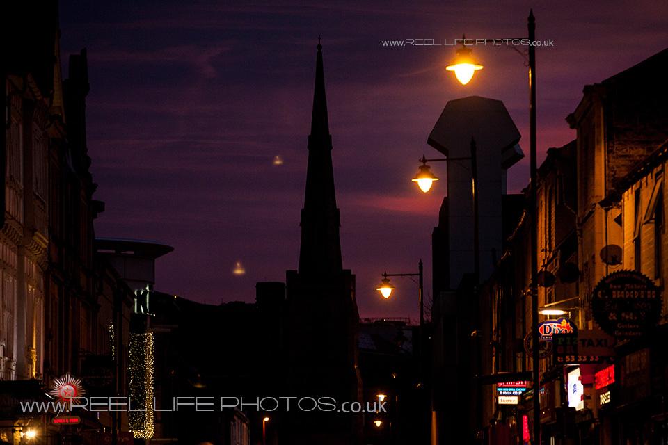 St. Paul's Church in Huddersfield at night