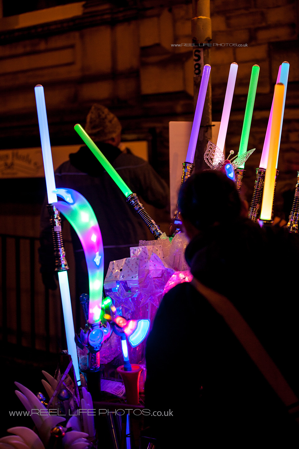 Light sabres being sold in Huddersfield during final night of Festival of  Light 2013