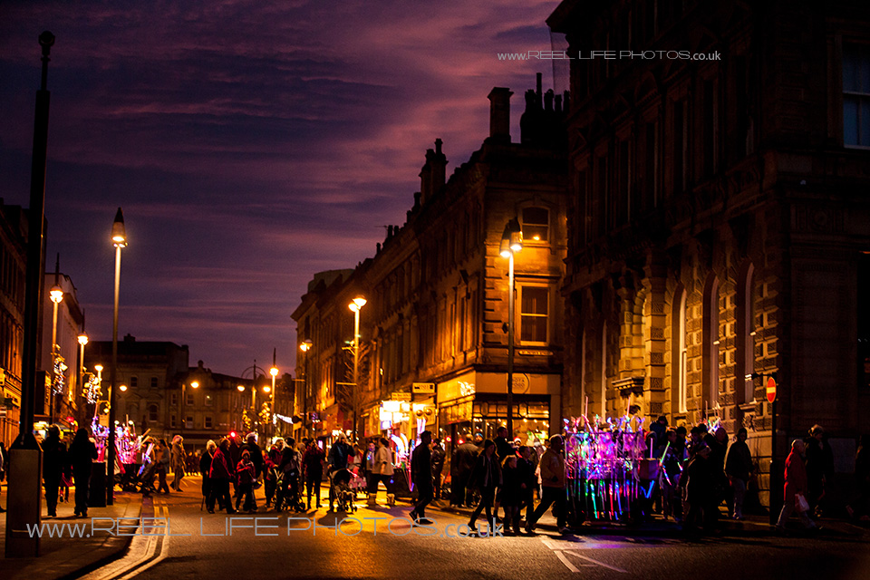 Huddersfield main street at night