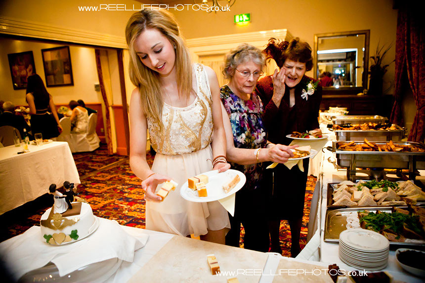 wedding buffet is served at healds Hall evening reception