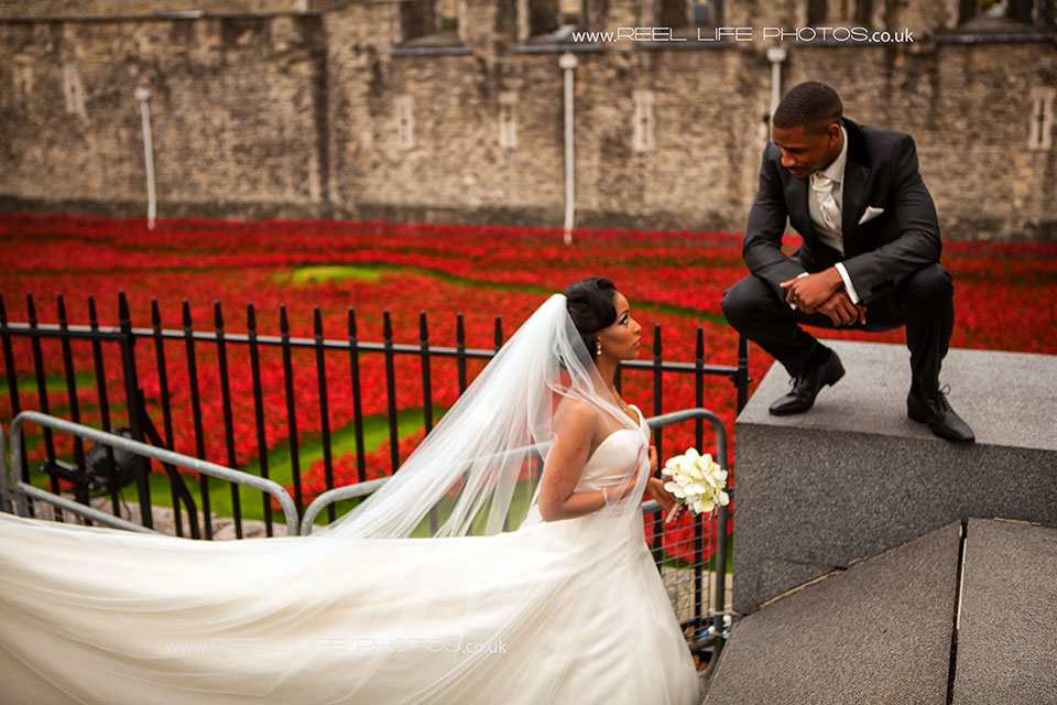 Eritrean bride with her Jamaican goom by the Tower of London
