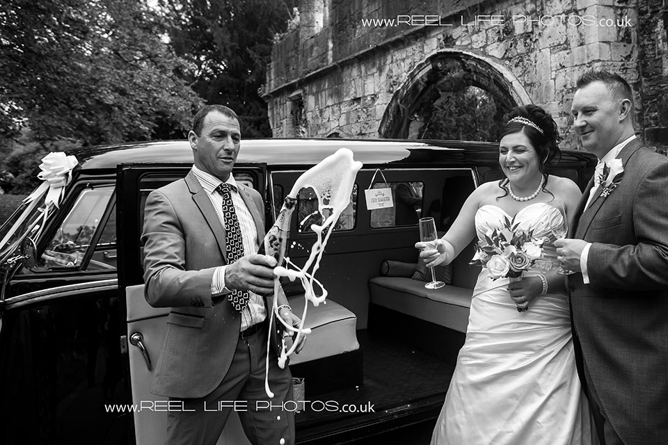 nature black and white wedding photography in Yorkshire - the champagne