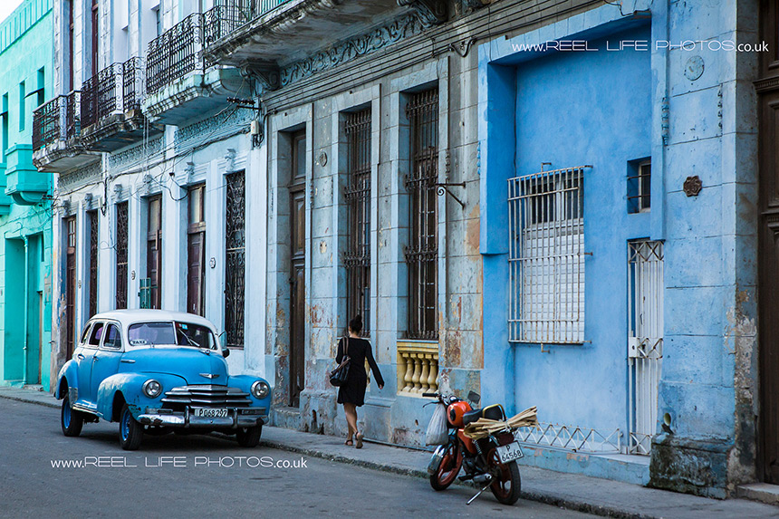 Classic Cuban car in Old Havana in blue and white.