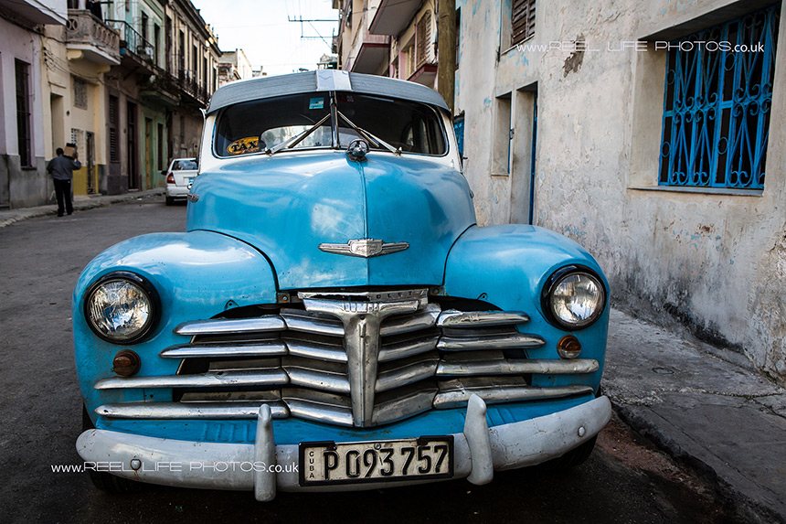 Strong image of a Classic Cuban car in Havana.  Copyright Reel Life Photos
