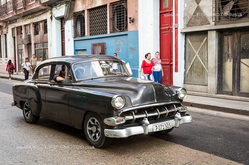 Brown classic Cuban taxi car in Havana