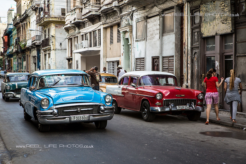 Cuban cars in Old Havana - a street in Hbana Vieja.