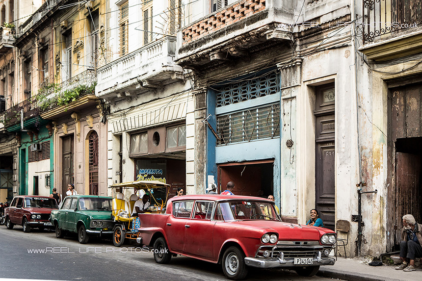 ClassicCuban street scene  in Old Havana with old American cars