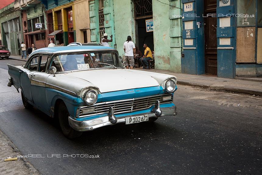 Old Cuban cars in Havana still work as taxis.