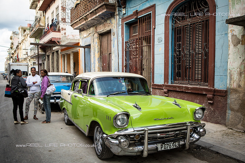 Lime green and white classic Cuban car in Old Havana